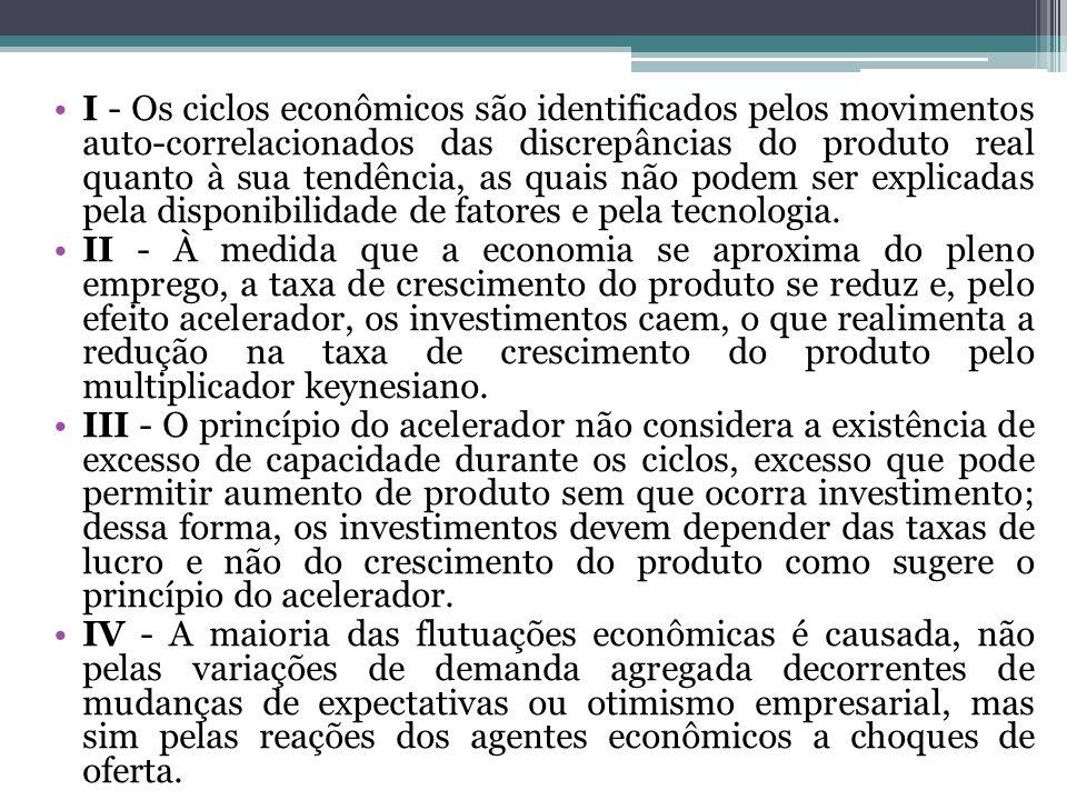 I - Os ciclos econômicos são identificados pelos movimentos auto-correlacionados das discrepâncias do produto real quanto à sua tendência, as quais não podem ser explicadas pela disponibilidade de fatores e pela tecnologia.