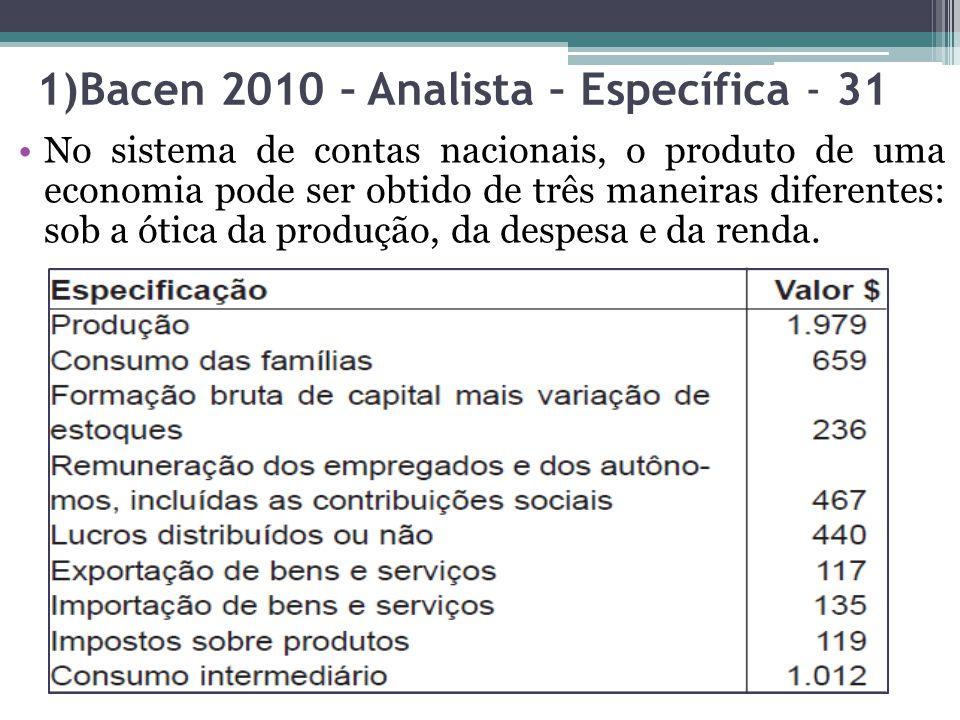 1)Bacen 2010 – Analista – Específica - 31 No sistema de contas nacionais, o produto de uma economia pode ser obtido de três maneiras diferentes: sob a ótica da produção, da despesa e da renda.
