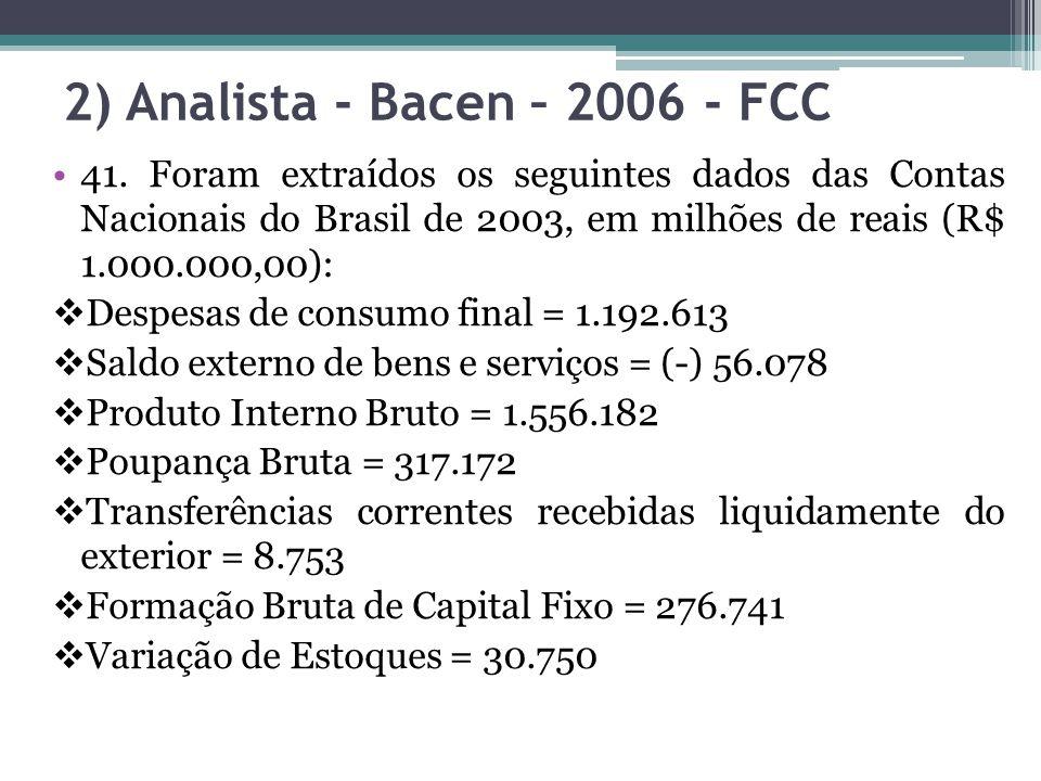 2) Analista - Bacen – 2006 - FCC 41. Foram extraídos os seguintes dados das Contas Nacionais do Brasil de 2003, em milhões de reais (R$ 1.000.000,00):