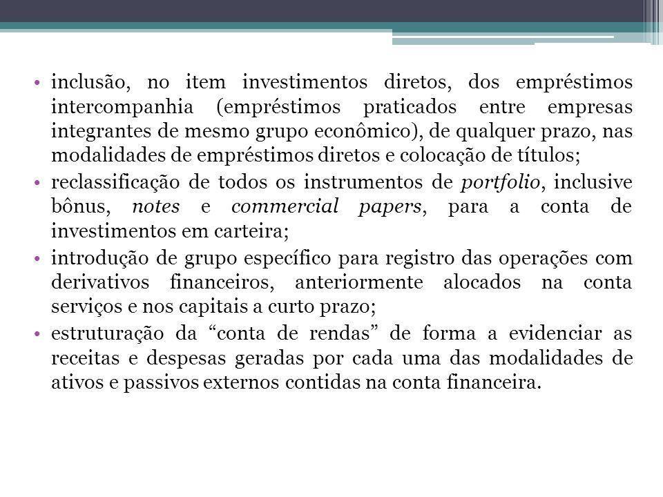 inclusão, no item investimentos diretos, dos empréstimos intercompanhia (empréstimos praticados entre empresas integrantes de mesmo grupo econômico),