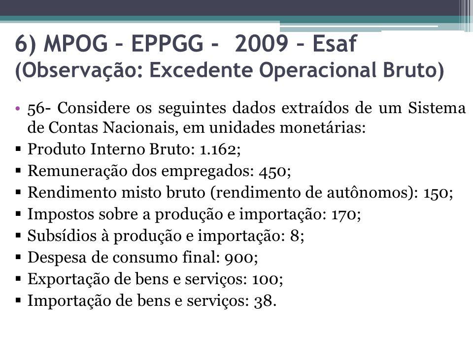 6) MPOG – EPPGG - 2009 – Esaf (Observação: Excedente Operacional Bruto) 56- Considere os seguintes dados extraídos de um Sistema de Contas Nacionais,