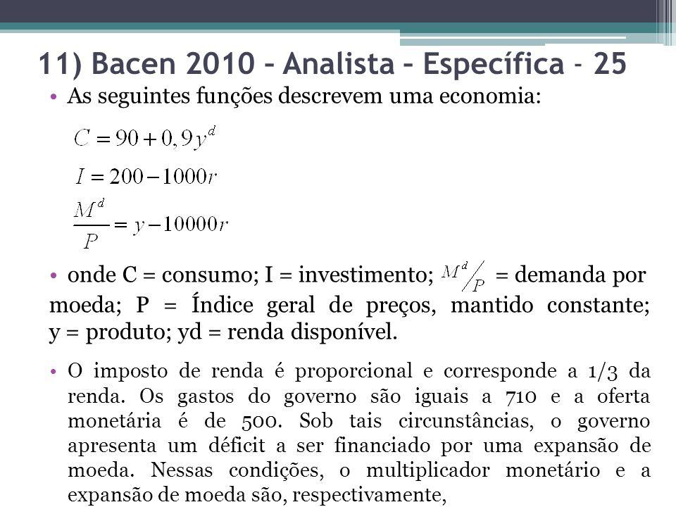 11) Bacen 2010 – Analista – Específica - 25 As seguintes funções descrevem uma economia: onde C = consumo; I = investimento; = demanda por moeda; P = Índice geral de preços, mantido constante; y = produto; yd = renda disponível.