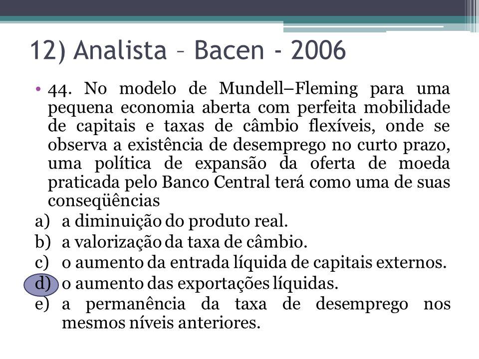 12) Analista – Bacen - 2006 44. No modelo de Mundell–Fleming para uma pequena economia aberta com perfeita mobilidade de capitais e taxas de câmbio fl