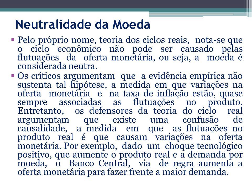 Neutralidade da Moeda Pelo próprio nome, teoria dos ciclos reais, nota-se que o ciclo econômico não pode ser causado pelas flutuações da oferta monetária, ou seja, a moeda é considerada neutra.