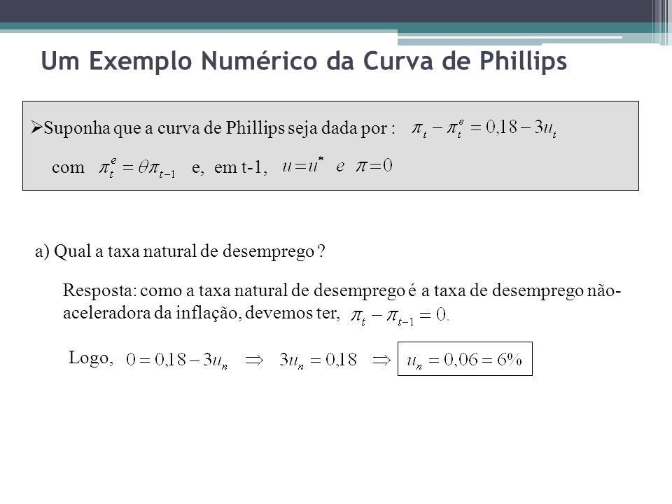 Um Exemplo Numérico da Curva de Phillips Suponha que a curva de Phillips seja dada por : come, em t-1, a) Qual a taxa natural de desemprego ? Resposta