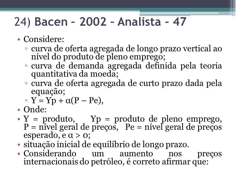 24) Bacen – 2002 – Analista – 47 Considere: curva de oferta agregada de longo prazo vertical ao nível do produto de pleno emprego; curva de demanda ag