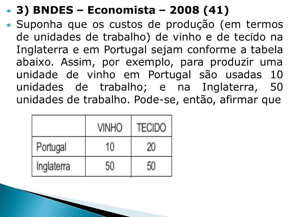 3) BNDES – Economista – 2008 (41) Suponha que os custos de produção (em termos de unidades de trabalho) de vinho e de tecido na Inglaterra e em Portug