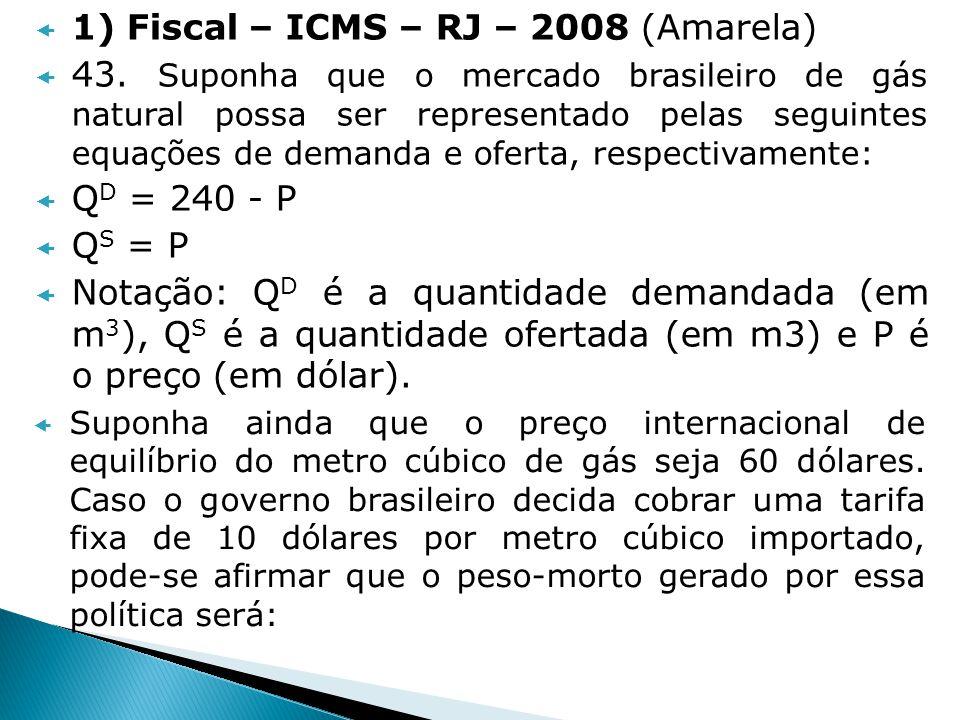 1) Fiscal – ICMS – RJ – 2008 (Amarela) 43. Suponha que o mercado brasileiro de gás natural possa ser representado pelas seguintes equações de demanda