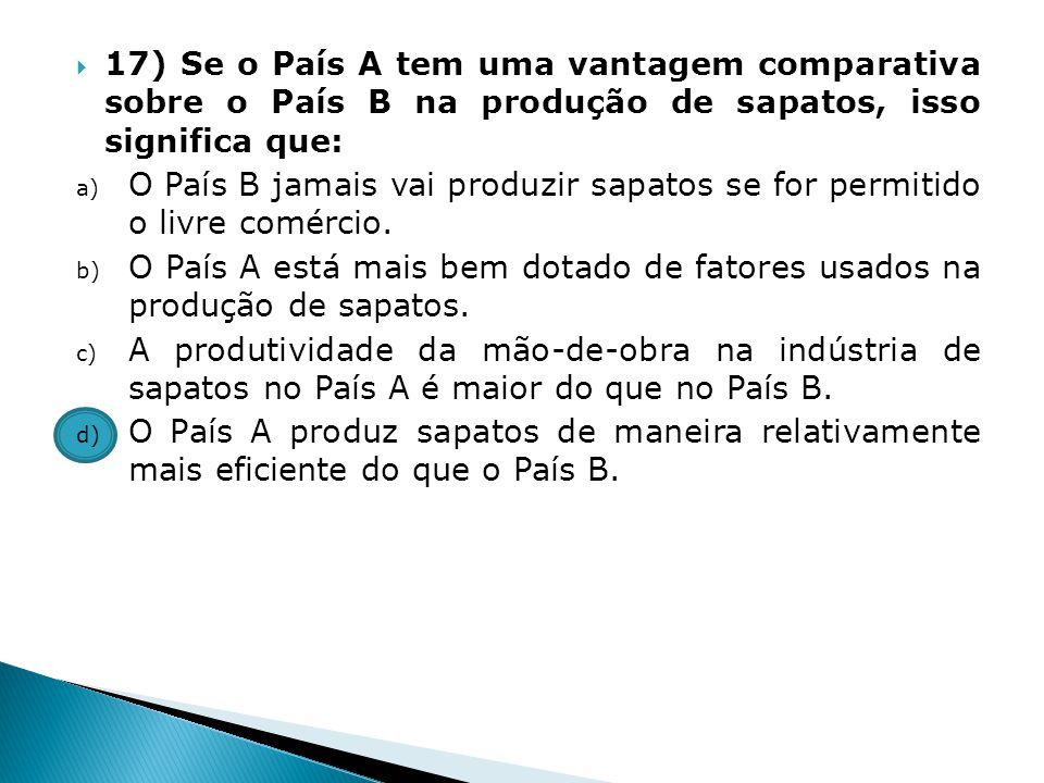 17) Se o País A tem uma vantagem comparativa sobre o País B na produção de sapatos, isso significa que: a) O País B jamais vai produzir sapatos se for