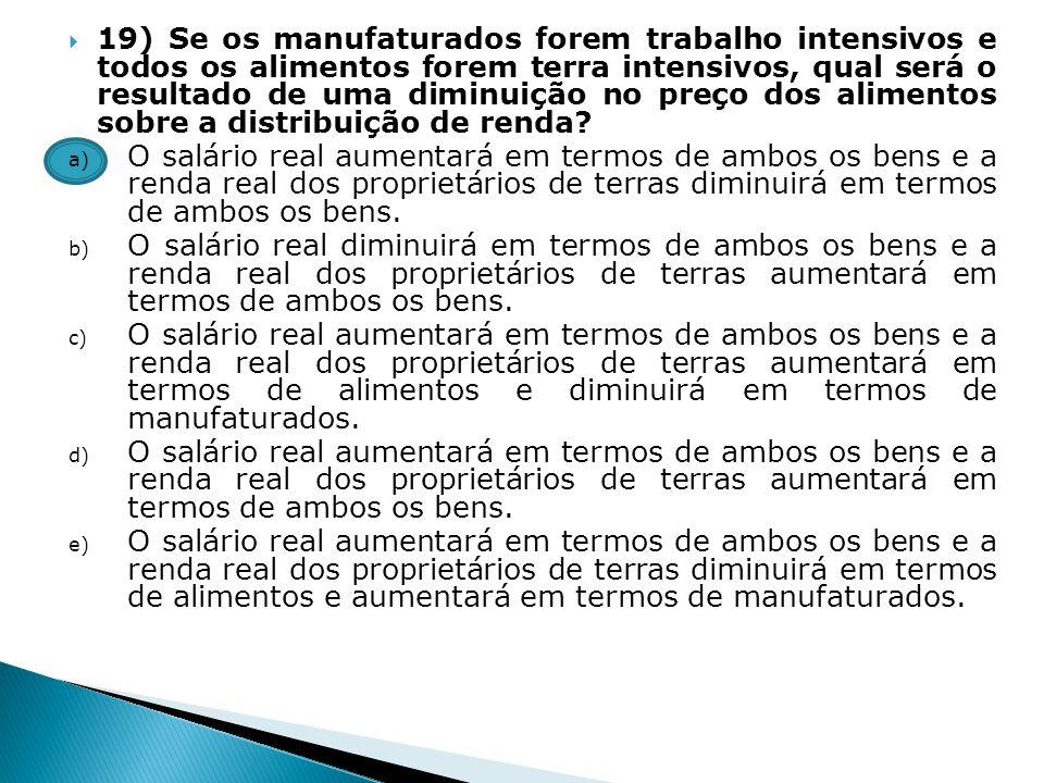 19) Se os manufaturados forem trabalho intensivos e todos os alimentos forem terra intensivos, qual será o resultado de uma diminuição no preço dos al