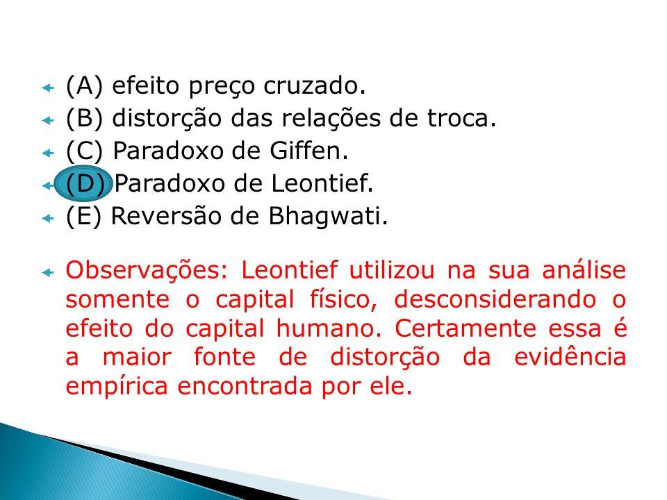 (A) efeito preço cruzado. (B) distorção das relações de troca. (C) Paradoxo de Giffen. (D) Paradoxo de Leontief. (E) Reversão de Bhagwati. Observações