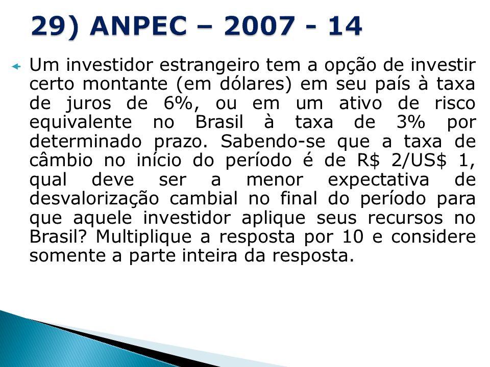 Um investidor estrangeiro tem a opção de investir certo montante (em dólares) em seu país à taxa de juros de 6%, ou em um ativo de risco equivalente n