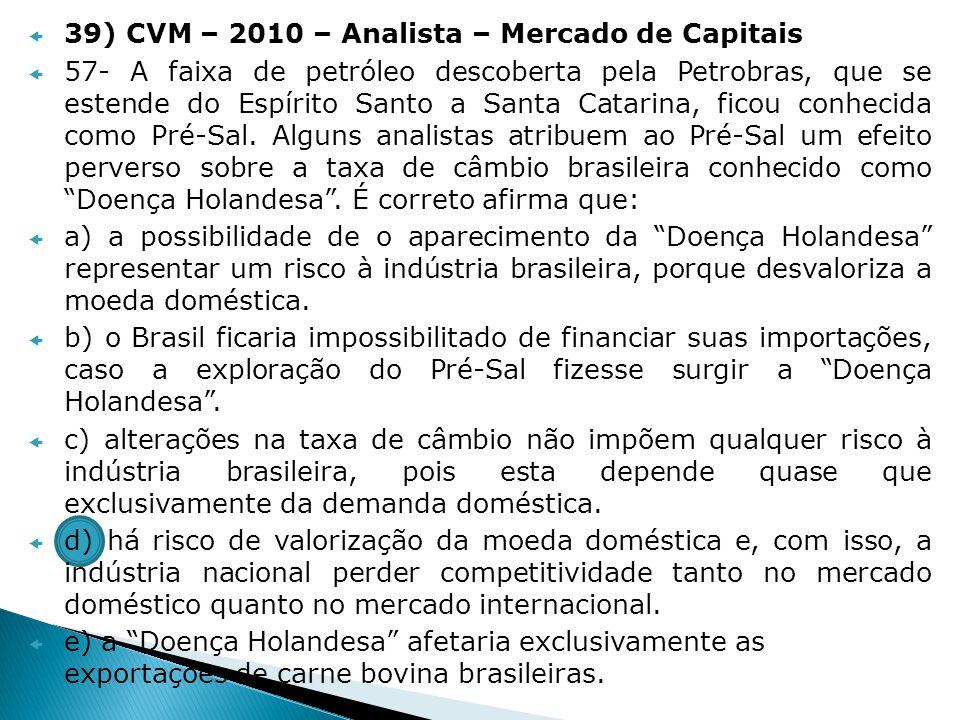 39) CVM – 2010 – Analista – Mercado de Capitais 57- A faixa de petróleo descoberta pela Petrobras, que se estende do Espírito Santo a Santa Catarina,