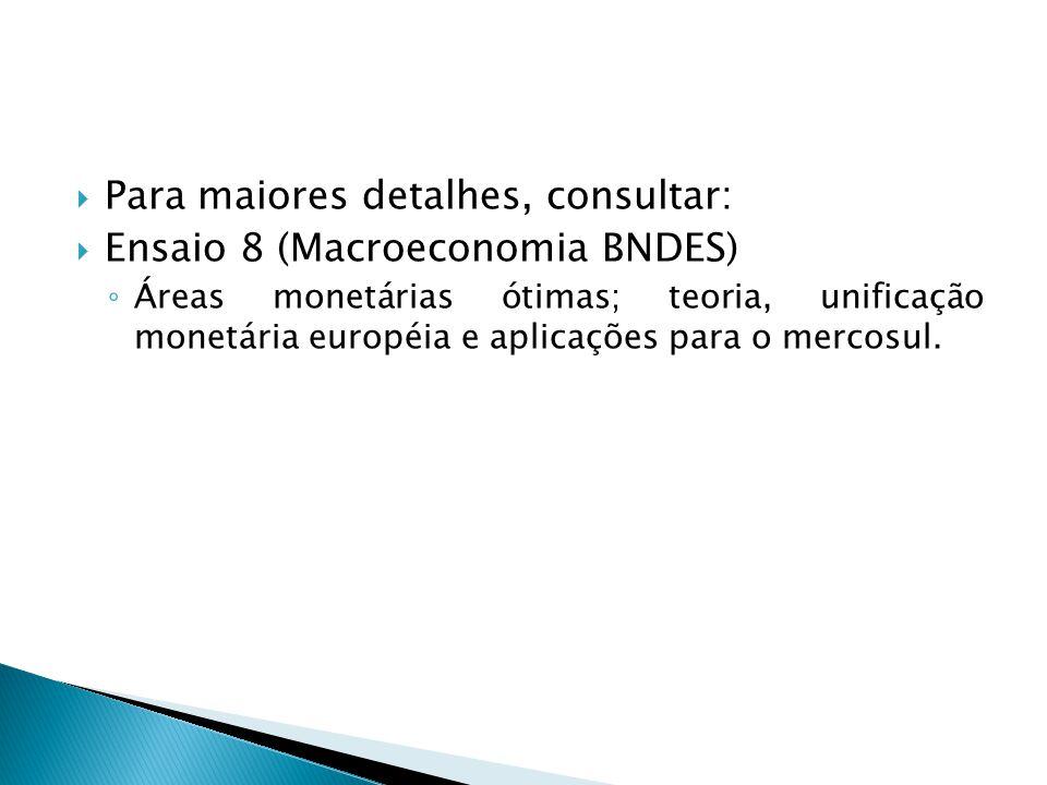 Para maiores detalhes, consultar: Ensaio 8 (Macroeconomia BNDES) Áreas monetárias ótimas; teoria, unificação monetária européia e aplicações para o me