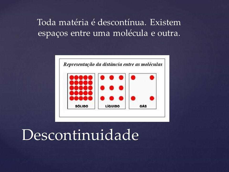 Descontinuidade Toda matéria é descontínua. Existem espaços entre uma molécula e outra.