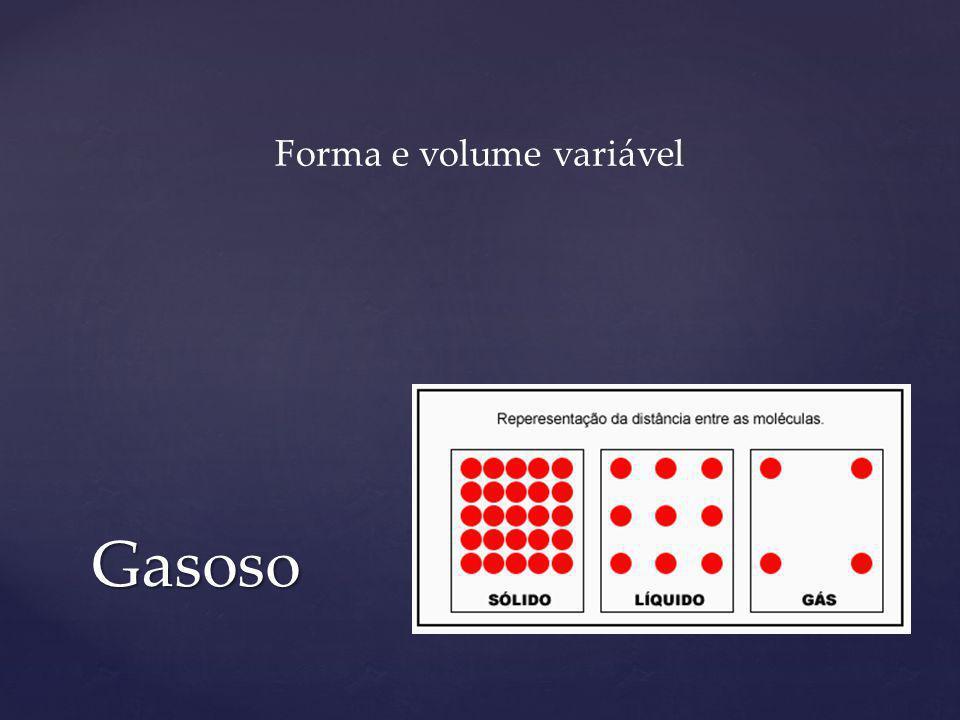 Gasoso Forma e volume variável