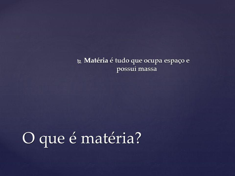 Matéria é tudo que ocupa espaço e possui massa Matéria é tudo que ocupa espaço e possui massa O que é matéria?