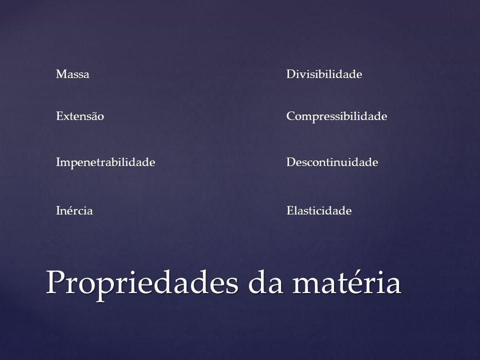 Propriedades da matéria Massa CompressibilidadeExtensão Inércia Impenetrabilidade Elasticidade Descontinuidade Divisibilidade