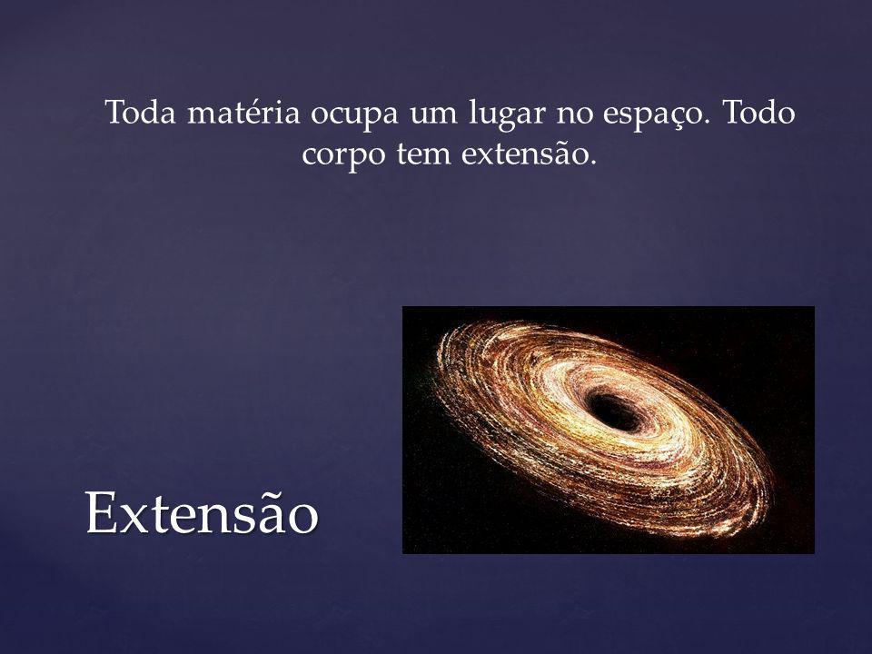 Extensão Toda matéria ocupa um lugar no espaço. Todo corpo tem extensão.