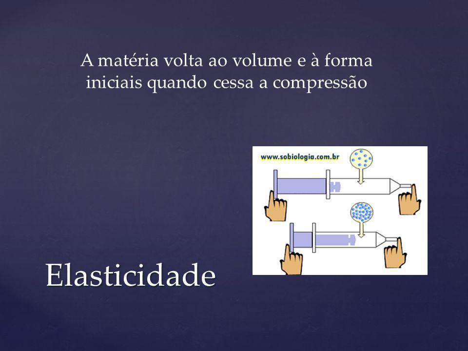 Elasticidade A matéria volta ao volume e à forma iniciais quando cessa a compressão