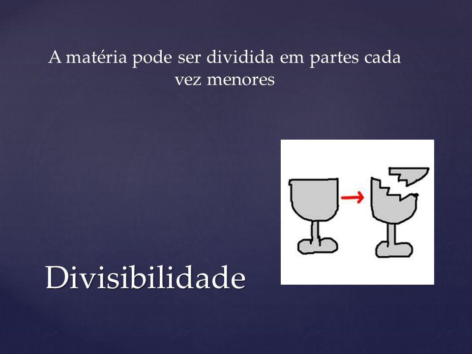 Divisibilidade A matéria pode ser dividida em partes cada vez menores