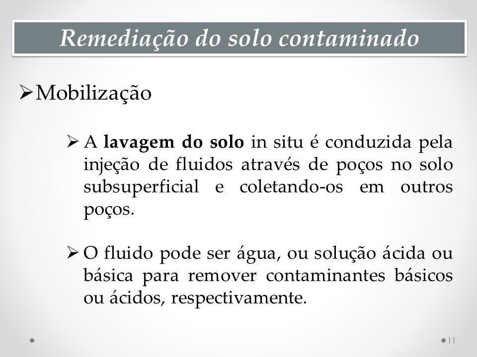 Remediação do solo contaminado Mobilização A lavagem do solo in situ é conduzida pela injeção de fluidos através de poços no solo subsuperficial e col