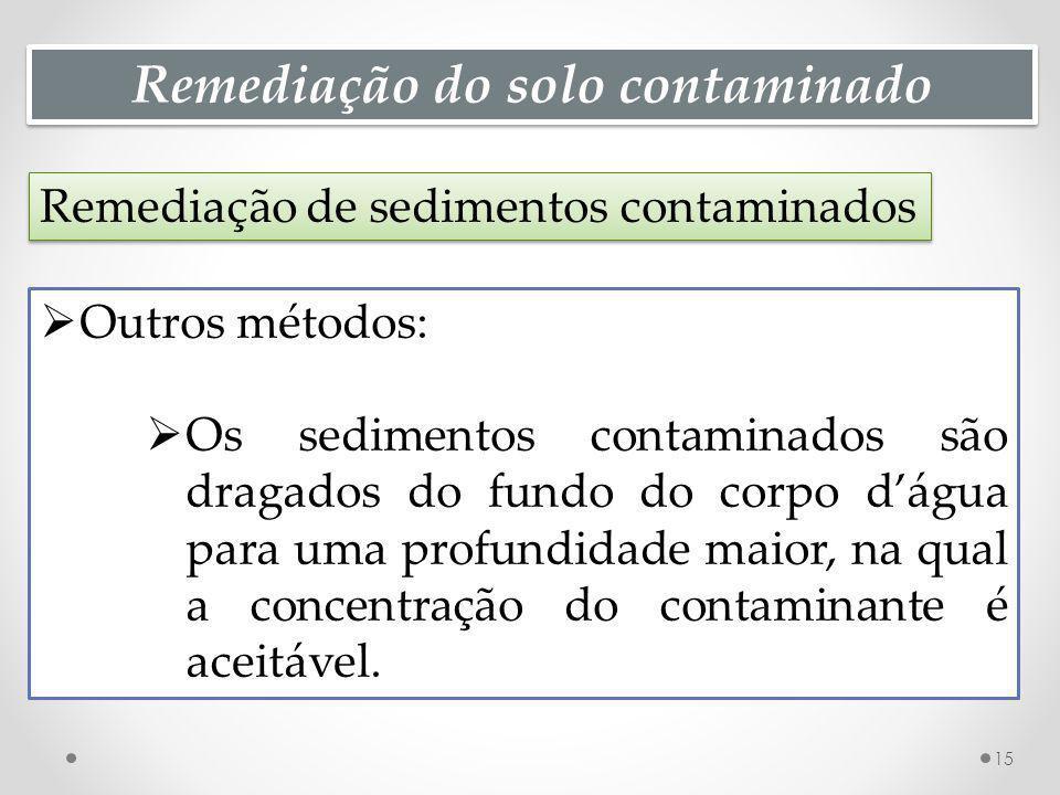 Remediação do solo contaminado Remediação de sedimentos contaminados 15 Outros métodos: Os sedimentos contaminados são dragados do fundo do corpo dágu