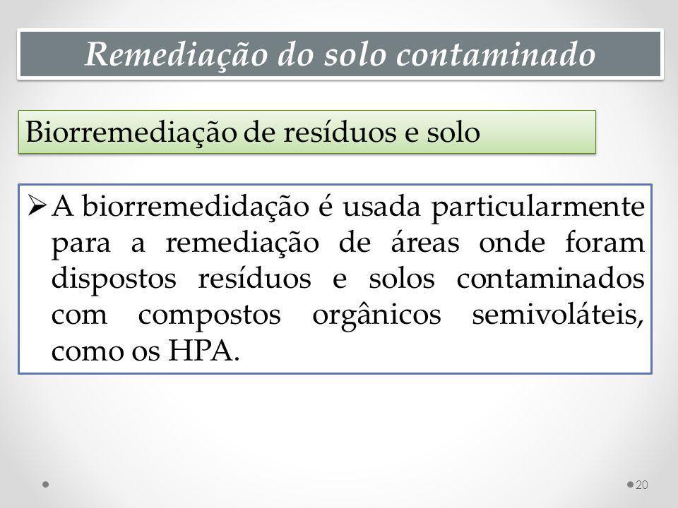 Remediação do solo contaminado Biorremediação de resíduos e solo 20 A biorremedidação é usada particularmente para a remediação de áreas onde foram di