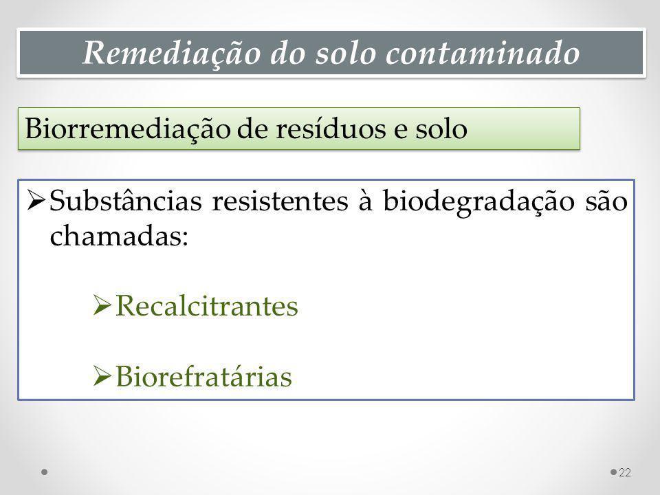 Remediação do solo contaminado Biorremediação de resíduos e solo 22 Substâncias resistentes à biodegradação são chamadas: Recalcitrantes Biorefratárias
