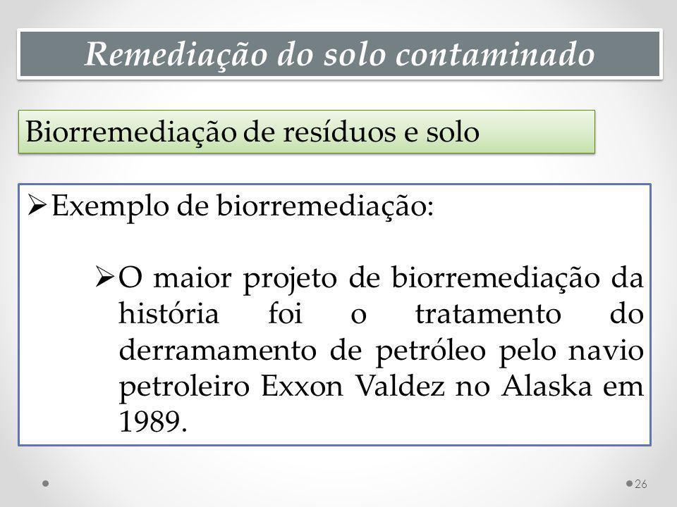 Remediação do solo contaminado Biorremediação de resíduos e solo 26 Exemplo de biorremediação: O maior projeto de biorremediação da história foi o tratamento do derramamento de petróleo pelo navio petroleiro Exxon Valdez no Alaska em 1989.