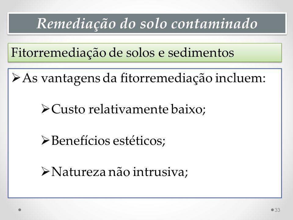 Remediação do solo contaminado Fitorremediação de solos e sedimentos 33 As vantagens da fitorremediação incluem: Custo relativamente baixo; Benefícios estéticos; Natureza não intrusiva;