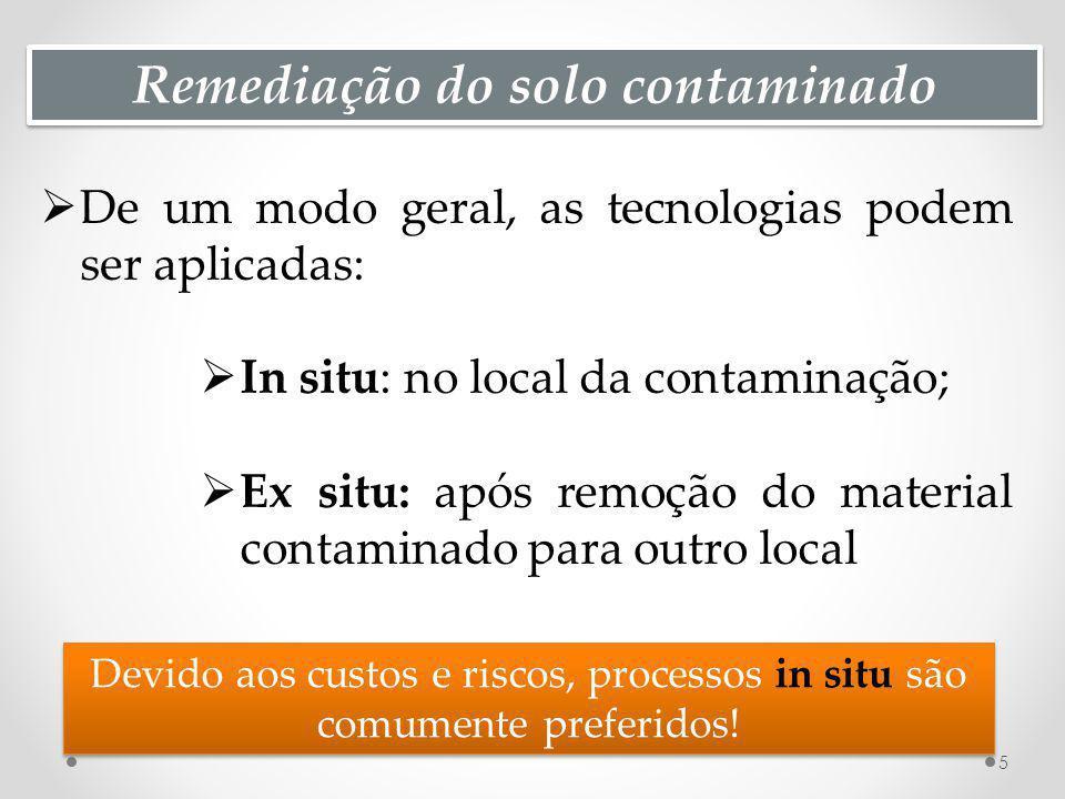 Remediação do solo contaminado De um modo geral, as tecnologias podem ser aplicadas: In situ: no local da contaminação; Ex situ: após remoção do mater