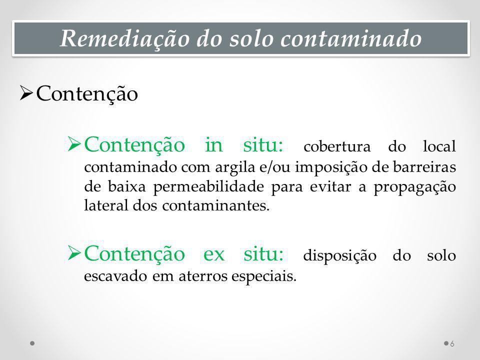 Remediação do solo contaminado Contenção Contenção in situ: cobertura do local contaminado com argila e/ou imposição de barreiras de baixa permeabilidade para evitar a propagação lateral dos contaminantes.