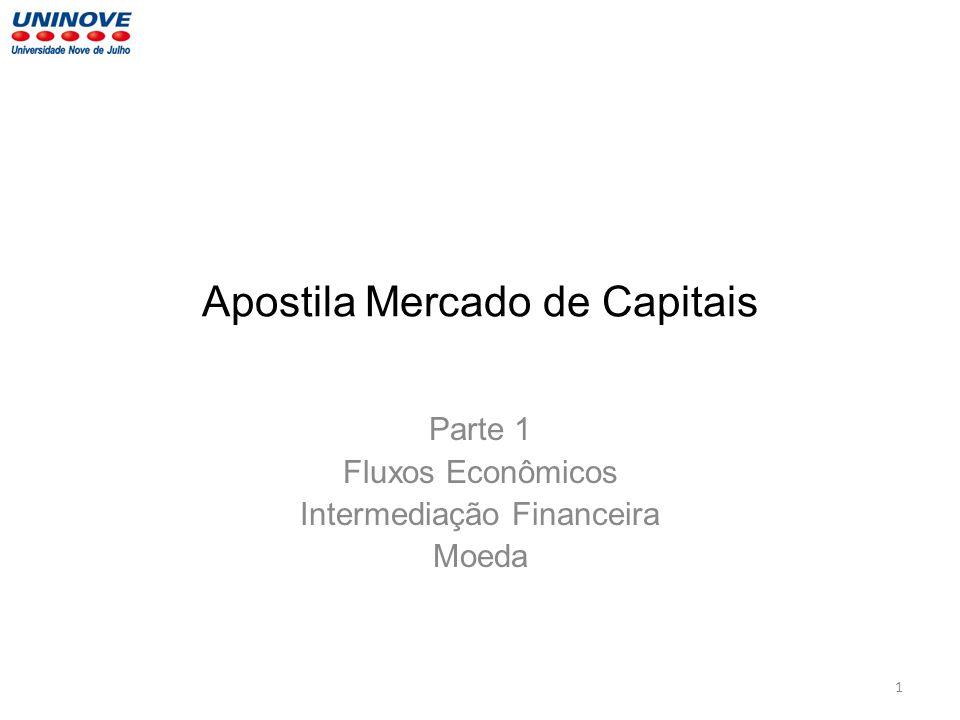 Apostila Mercado de Capitais Parte 1 Fluxos Econômicos Intermediação Financeira Moeda 1
