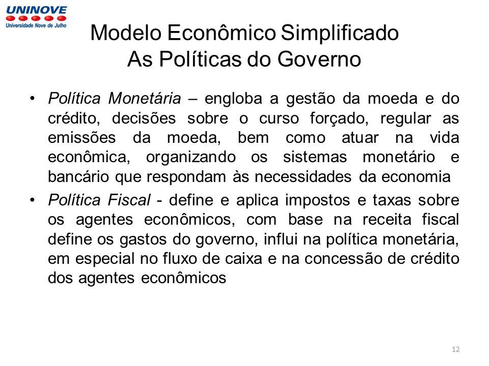 Modelo Econômico Simplificado As Políticas do Governo Política Monetária – engloba a gestão da moeda e do crédito, decisões sobre o curso forçado, reg