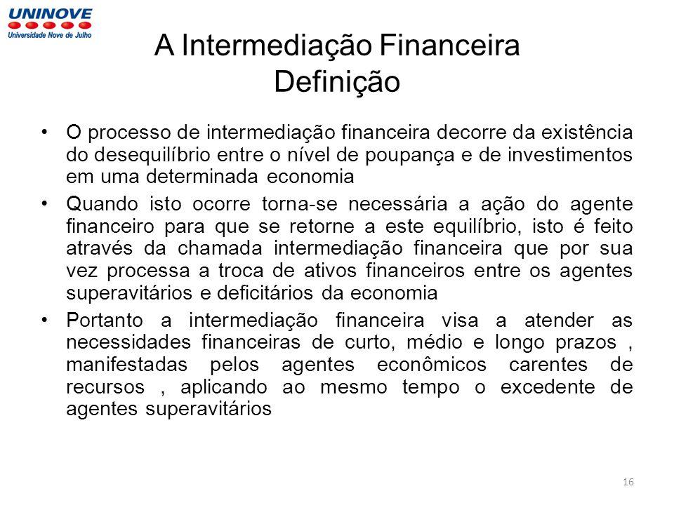 A Intermediação Financeira Definição O processo de intermediação financeira decorre da existência do desequilíbrio entre o nível de poupança e de inve