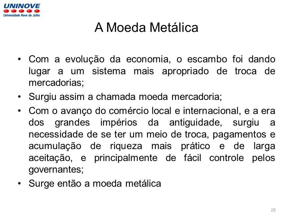 A Moeda Metálica Com a evolução da economia, o escambo foi dando lugar a um sistema mais apropriado de troca de mercadorias; Surgiu assim a chamada mo