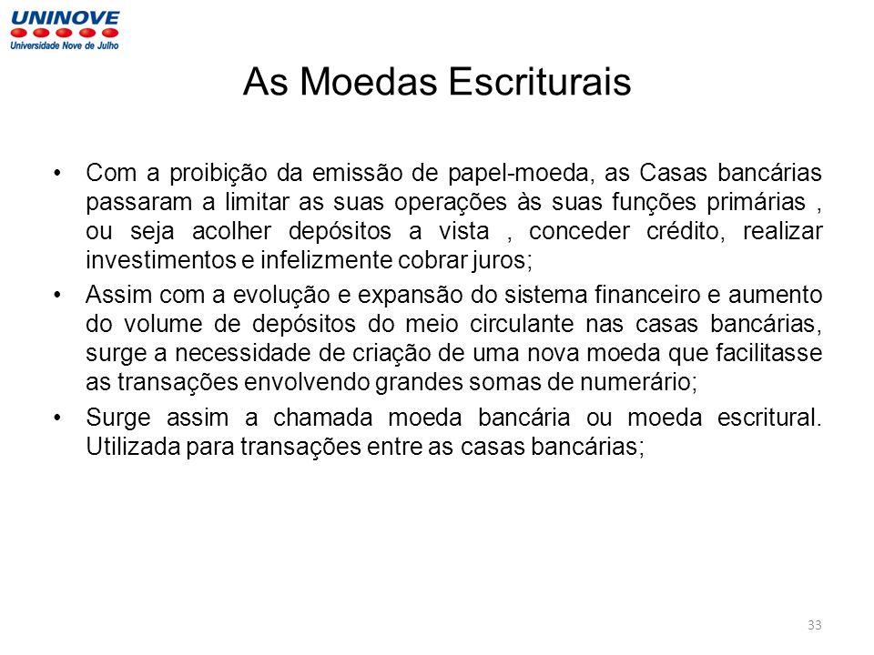 As Moedas Escriturais Com a proibição da emissão de papel-moeda, as Casas bancárias passaram a limitar as suas operações às suas funções primárias, ou