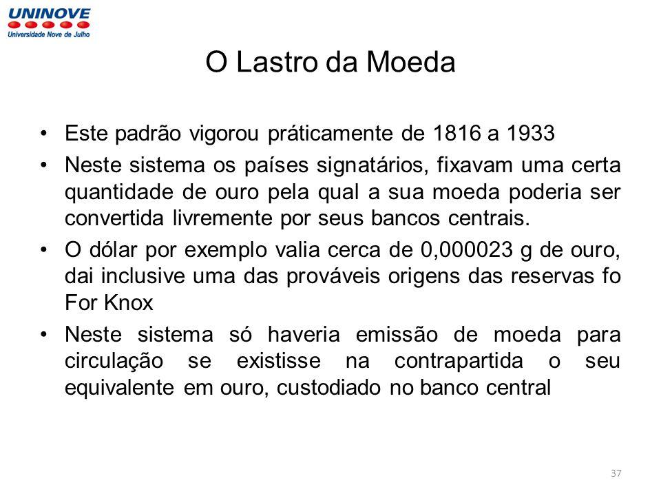 O Lastro da Moeda Este padrão vigorou práticamente de 1816 a 1933 Neste sistema os países signatários, fixavam uma certa quantidade de ouro pela qual