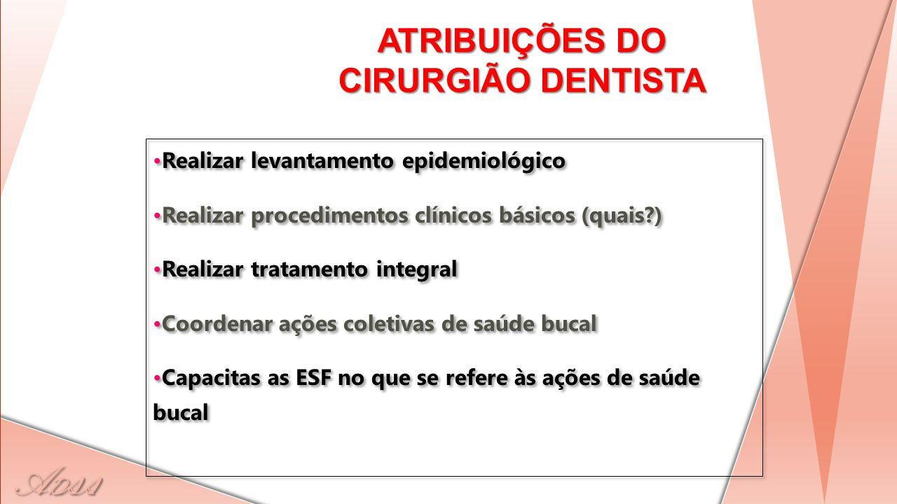 ATRIBUIÇÕES DO CIRURGIÃO DENTISTA Realizar levantamento epidemiológico Realizar procedimentos clínicos básicos (quais?) Realizar tratamento integral C