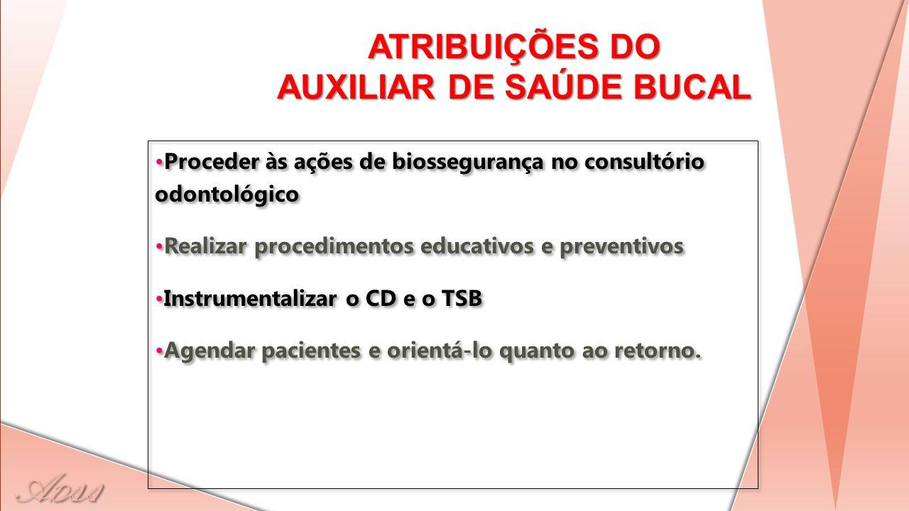 A D ss ATRIBUIÇÕES DO AUXILIAR DE SAÚDE BUCAL Proceder às ações de biossegurança no consultório odontológico Realizar procedimentos educativos e preve