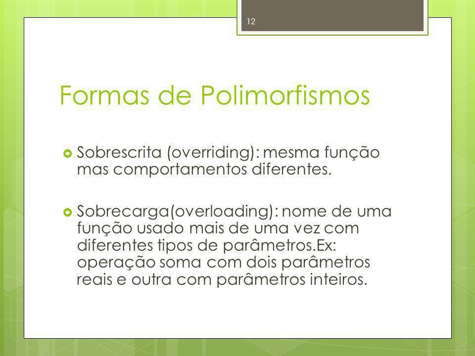 Formas de Polimorfismos Sobrescrita (overriding): mesma função mas comportamentos diferentes. Sobrecarga(overloading): nome de uma função usado mais d