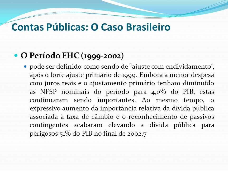 O Período FHC (1999-2002) pode ser definido como sendo de ajuste com endividamento, após o forte ajuste primário de 1999. Embora a menor despesa com j