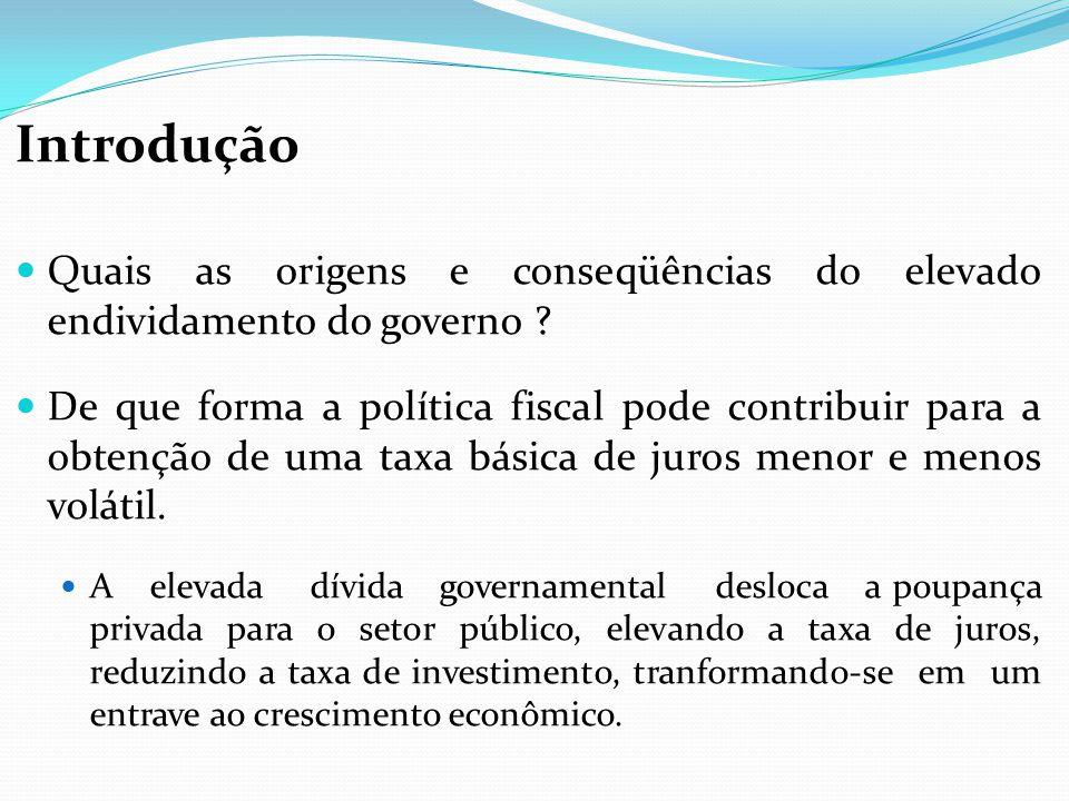Introdução Quais as origens e conseqüências do elevado endividamento do governo ? De que forma a política fiscal pode contribuir para a obtenção de um
