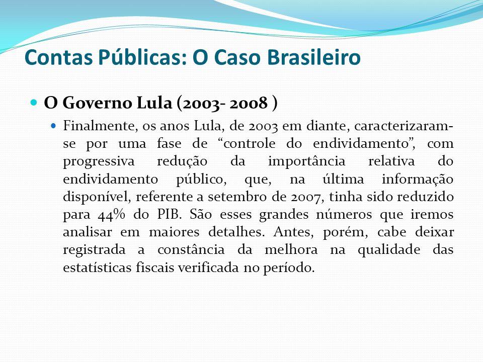 O Governo Lula (2003- 2008 ) Finalmente, os anos Lula, de 2003 em diante, caracterizaram- se por uma fase de controle do endividamento, com progressiv