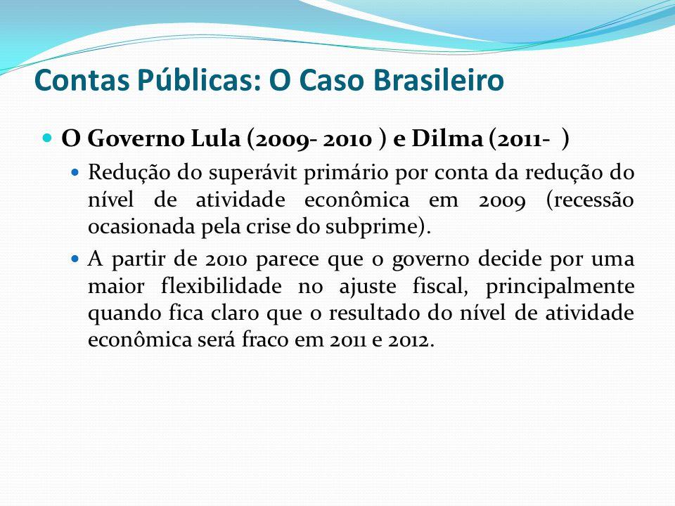O Governo Lula (2009- 2010 ) e Dilma (2011- ) Redução do superávit primário por conta da redução do nível de atividade econômica em 2009 (recessão oca