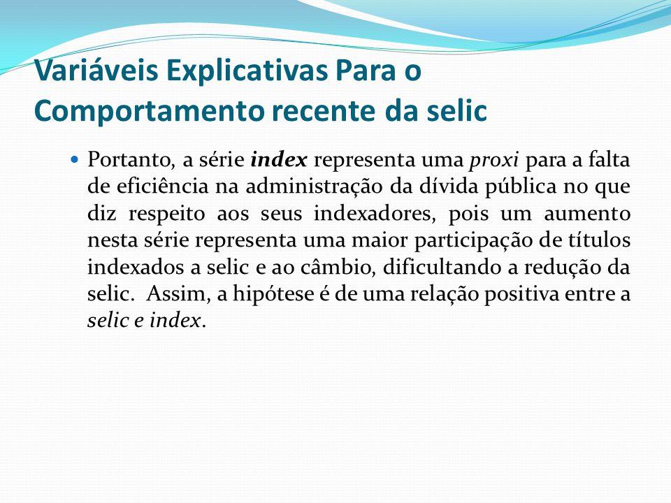 Portanto, a série index representa uma proxi para a falta de eficiência na administração da dívida pública no que diz respeito aos seus indexadores, p