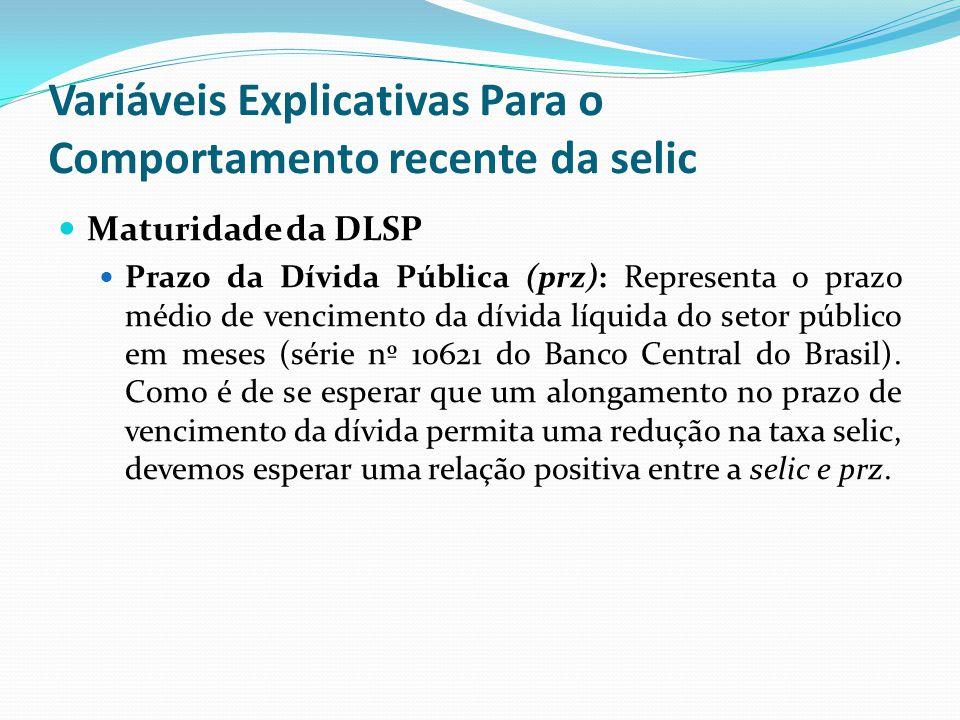 Maturidade da DLSP Prazo da Dívida Pública (prz): Representa o prazo médio de vencimento da dívida líquida do setor público em meses (série nº 10621 d