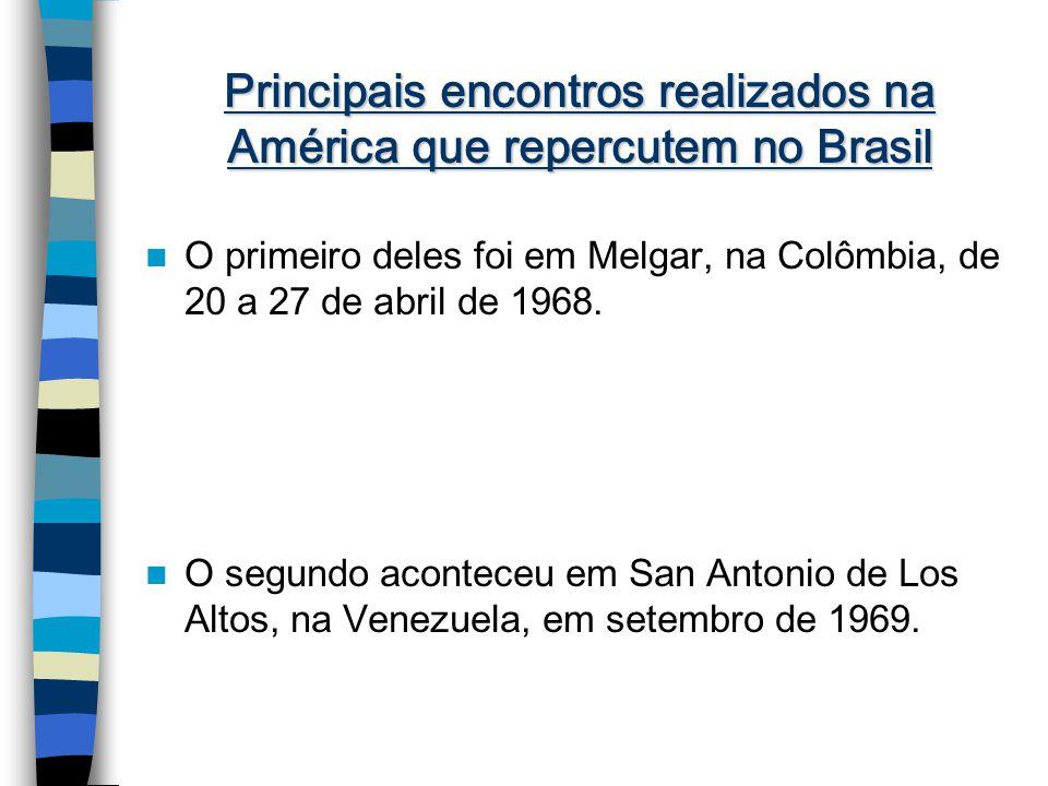 Principais encontros realizados na América que repercutem no Brasil O primeiro deles foi em Melgar, na Colômbia, de 20 a 27 de abril de 1968.