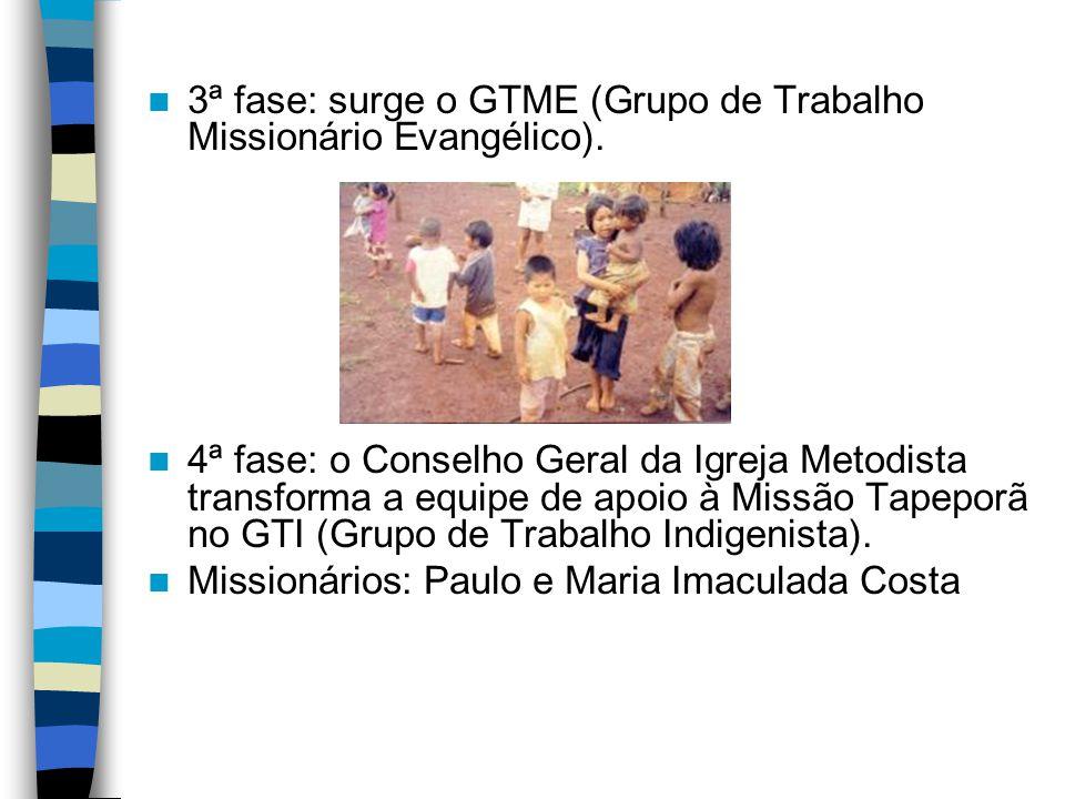 3ª fase: surge o GTME (Grupo de Trabalho Missionário Evangélico). 4ª fase: o Conselho Geral da Igreja Metodista transforma a equipe de apoio à Missão